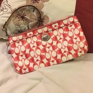 Coach Pink & Red Signature Wristlet Good Condition